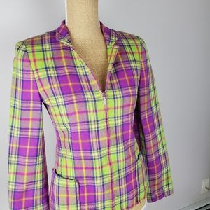 Carlisle wool plaid blazer, purple and green